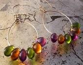 sorbet drops - gold hoop earrings with glass teardrops