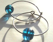 Sterling silver hoops with aqua blue art glass bead