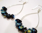 Black iridescent  Peacock silver hoop earrings
