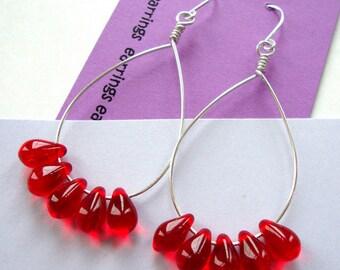Red Glass Teardrop Sterling Silver Earrings