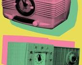 Kitschy Retro Radios 8x10 Print