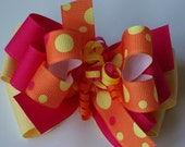 Hot Pink, Orange and Yellow Large Hair Bow