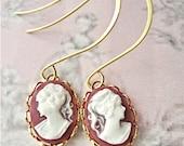 18k Royal Plum - Cameo Earrings