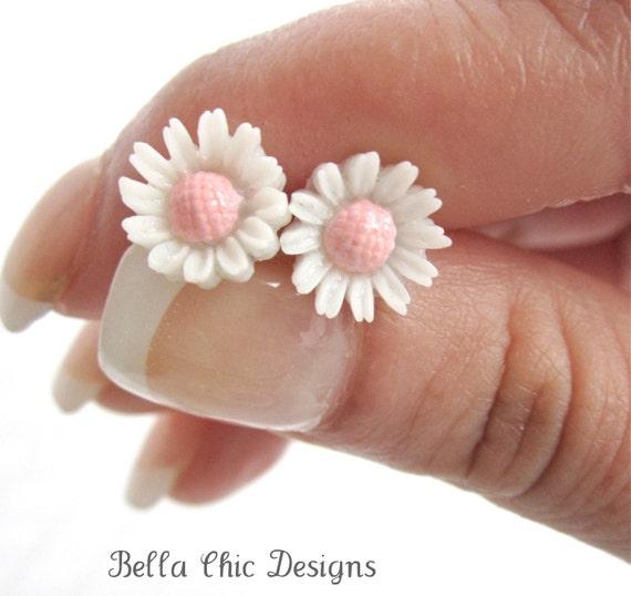 Pink Daisy Post Earrings -