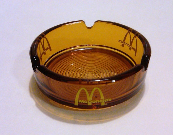 Vintage McDonald's Brown Glass Ashtray with Yellow Lettering