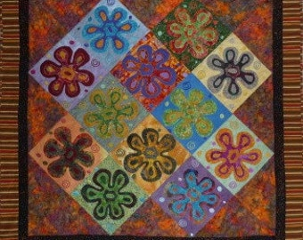 Quilted Wallhanging - Kaffe Fassett Psychedelic Flowers