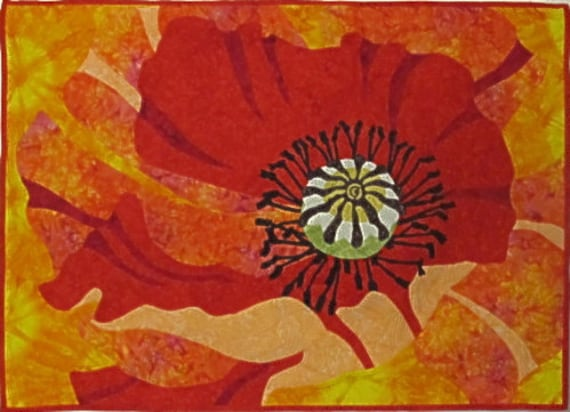 Modern Quilted Poppy  Wallhanging
