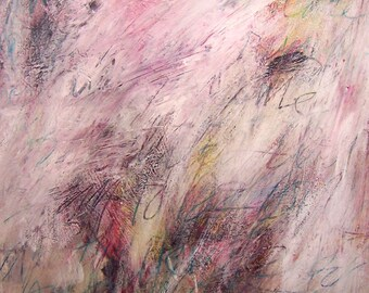 ERASURE abstract painting mixed media original drawing 100% charity donation 30x20 inches, free shipping