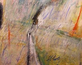 The Meeting Edge  an original painting drawing mixed media