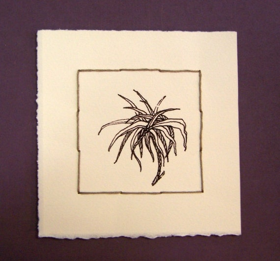 Botanical Fantasy One, ink drawing, original drawing, sewing, ink on paper, 5x5, 100% charity donation, inexpensive