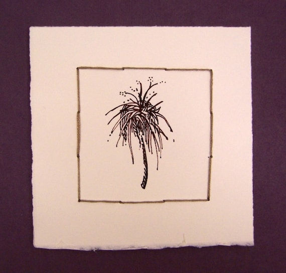 Botanical Fantasy Two, ink drawing, original drawing, sewing, ink on paper, 5x5, 100% charity donation, inexpensive