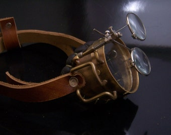 Real Brass and Leather Steampunk Monocle Neo Victorian Jules Verne Goggles
