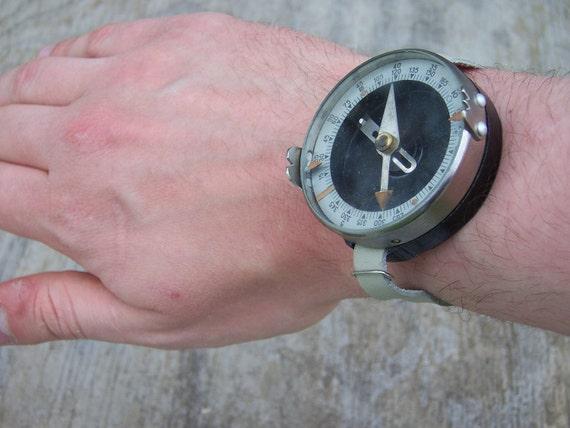 Vintage Soviet Wrist Compass Watch Cold War WWII Steampunk