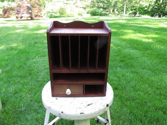 Vintage Wooden Mail Cabinet Box Organizer With Drawer
