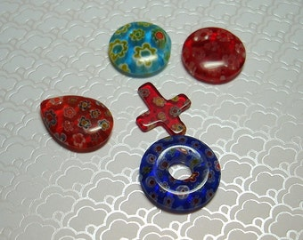 Millefiori Assorted Glass Charms (Qty 5) - B8