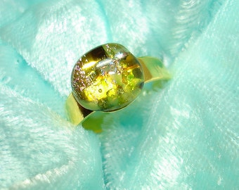 Dichroic Fused Glass Cab Ring - R36