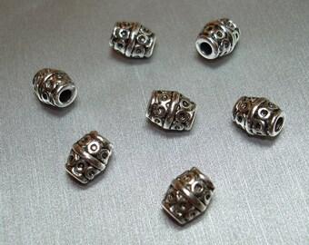 Antique Silver Designed Barrel Beads (Qty 7) - B1179