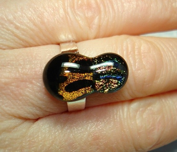 Dichroic Fused Glass Cab Ring - R22