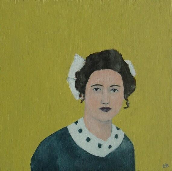 Sale - The big white bow - Original Little Portrait Painting by Elizabeth Bauman, 4 x 4 inches