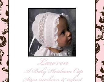 "Rufflebunnies  by Sara Norris ltd epattern ""Lauren"" heirloom bonnet"