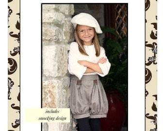 """Smocked Bloomer Shorts--epattern size 2-8 """"Maclain"""""""