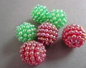 20mm Vintage Raspberry Beads Christmas Mix  Red and Green  (6) NOS