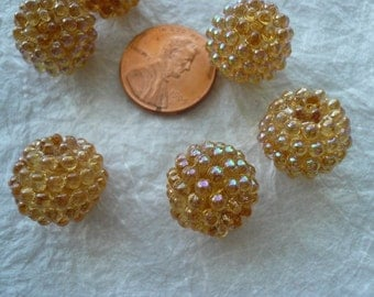 Vintage 15mm Raspberry Beads Topaz (6) NOS