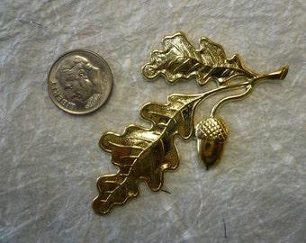 Vintage Oak Leaf Brass Stamping (2)