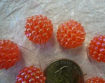 Vintage 15mm Raspberry Beads Melon  NOS (6)