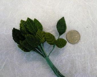 Vintage Green Velvet Leaves Tiny NOS (6)