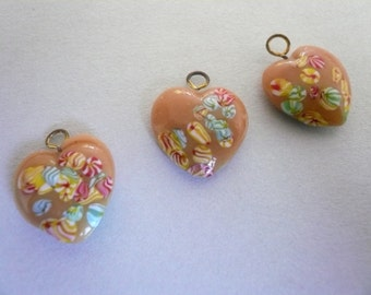 Vintage Caramel Colored Glass Heart Charms (3)