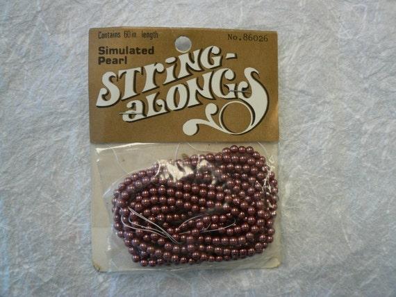 Vintage Brown Faux Pearls 86026  3.5mm NOS