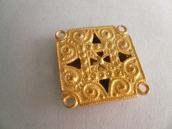 Vintage Rescued Metal  Art Deco Square Jewelry Piece for Altered Art Assemblege
