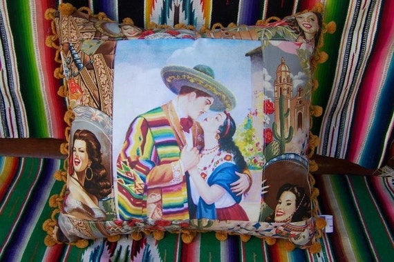 Vintage Mexican Southwest image PILLOW Serape Lovers Kiss Cactus Mission Scene