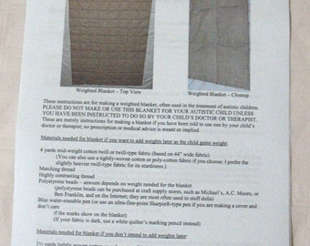 Original Instructions & PDF PATTERN for Making a Weighted Blanket, with Optional Cover