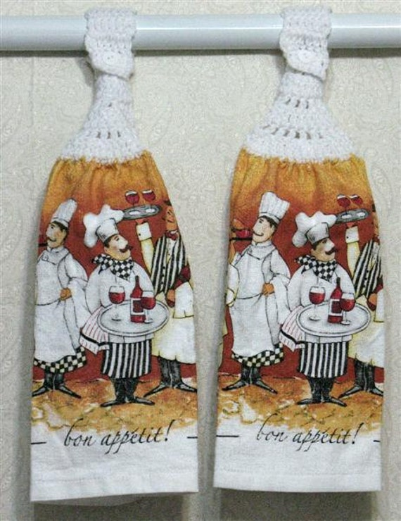 Chefs with Wine Glasses Hanging Hand Towels Set of 2