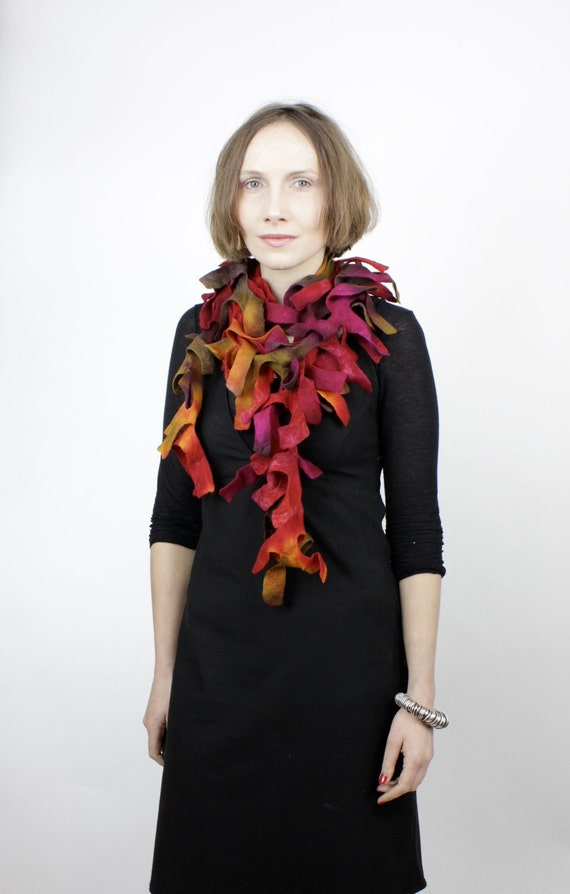 felted wool shawls felting handmade gift felted scarf red, brown, magenta - boa - antler