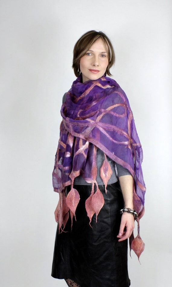 Leaf Nuno Felted Scarf Spring Summer Gold and Plum New Collection 2012