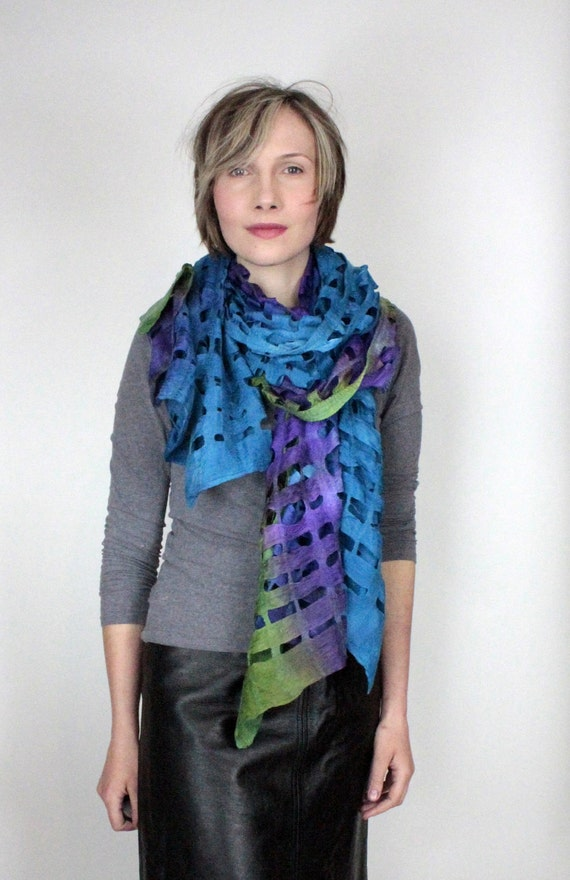 prototype Wool silk felted scarf felt scarf ribbons woven textile blue and violet and green