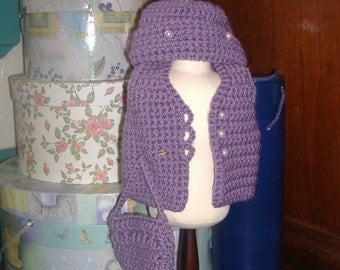 18 inch doll vest hat and purse