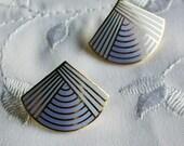 Vintage Lavender Enamel Post Earrings Signed