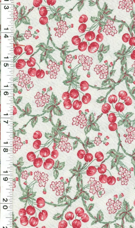 Pique Nique Fabric - RJR - 5/8 of a Yard - Cherries and Blossoms