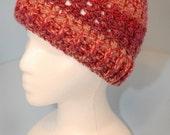 Red, Pink, Mauve, Rose, Peach Verigated Crochet Beanie Hat Adult Medium