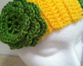 Ear warmer headband - Green and Yellow. Perfect for the Mason, William and Mary, Packers, ATU, CSU, USF, Baylor fan