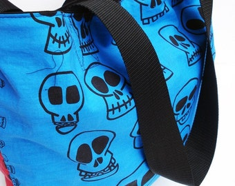 One of a Kind Red and Blue Whacky Skulls Cotton Tote Bag - Kezbirdie