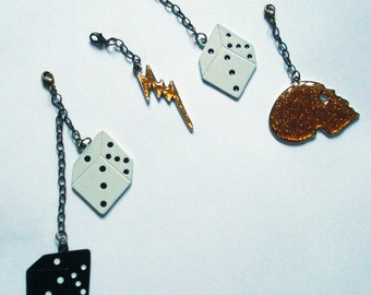 Set of four charms, Skull, dice and lightning bolt - kezbirdie