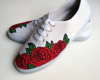 Hand painted Pumps/ Sneakers -  Red Roses - UK 7/ US 9.5/ EU 40- Kezbirdie