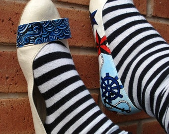 Hand painted flats - Nautical Flats- Size UK7/ US 9.5/ EU 40
