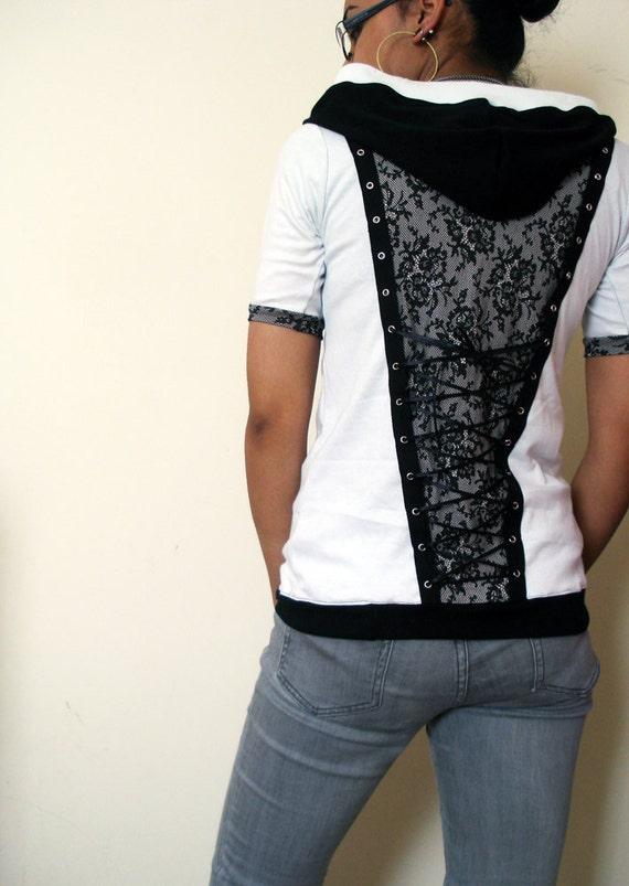 OOAK Lace panelled hoodie with corset lacing - Kezbirdie
