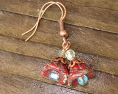 Red Picasso Flowers - Copper, Lucite and Glass Earrings